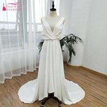 Đơn giản Cao Thấp Bãi Biển Wedding Dresses 2019 V Cổ Tuyệt Đẹp Nếp Gấp Backless Bridal Gowns Vestido De Noiva Bất ZW113