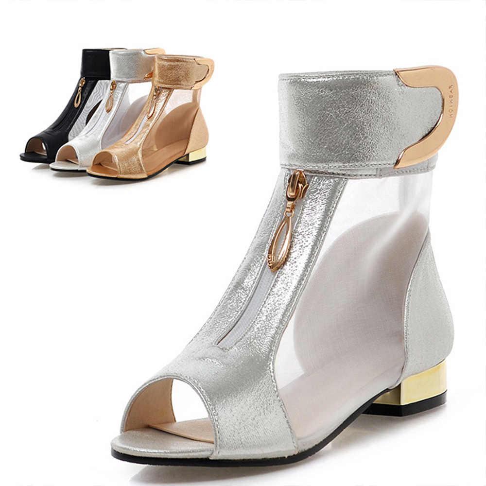 Bimolter 2018 Neue Sommer Neue Elegante Marke Mesh Garn Sandalen Frauen Metall Dekoration Peep Toe Bootie Schuhe Große Größe 34 -43 PSEA028