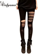 Colysmo Leggings Sexy Gossip Girl legging rasgado Slashed Leggings Mujer Pantalones Punk Rock Star Club negro Leggings