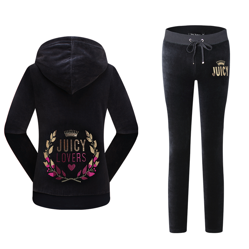 Juicy Lovers Brand Women Sporting Suits Set Wine Red Black Purple Velvet Casual Tracksuits Hooded Collar