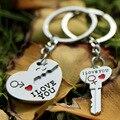 Caliente venta de aleación de Zinc plateado regalo de los amantes pareja corazón llavero moda Keyring creativo mayorista llavero