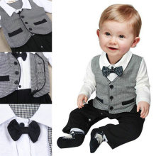 Newest 1pc Kid Baby Boy Cotton Gentleman Romper Jumpsuit Bodysuit Clothes Outfit 1 3T