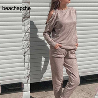 Cashmere + Woolen beading Knit warm sets Strapless Sweater + Mink Cashmere Trousers Leisure Two piece elastic suits