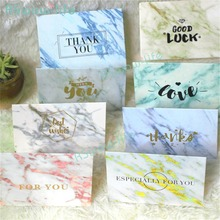 10pcs Marble Retro Valentine's Day Greeting Card New Year Card Business Folding Greeting Cards Hot Stamping Cards 10pcs hot stamping valentine s day greeting card creative thanks single page card manual diy children s day greeting card