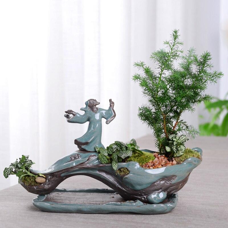 Créative Zen Style plante bonsaï plantes Pots pour fleur en céramique Pot de fleur maison jardin jardinières Patio décoration de bureau ornement - 2