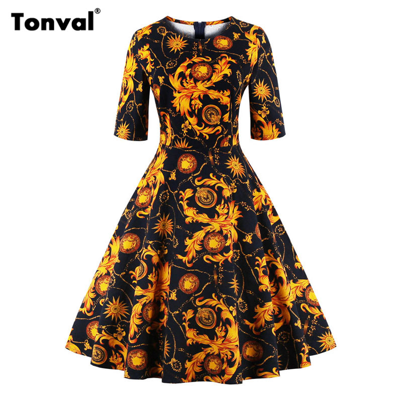 Tonval Half Sleeve Vintage Tunic Autumn Dress Women Christmas Floral Print Party Dress Retro Hepburn Plus Size Dresses