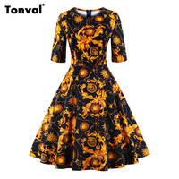 Tonval Half Sleeve Vintage Tunic Dress Women Gorgeous Floral Retro Audrey Hepburn Style Plus Size Autumn