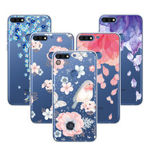 "3D Relief Silicone Phone Case For Huawei Y7 Prime 2018 5.99"" Flowers Cartoon Lace Cover Cases For Huawei Y7 Prime 2018 Fundas(China)"
