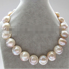 "Livraison gratuite> AAA 18 ""22-23mm grande taille naturel blanc blister Mabe perle collier(China)"