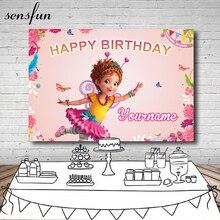 Sensfun розовый тема фантазии Нэнси обувь для девочек день рождения фон цветок бабочка Фотофон для фотостудии 7X5FT