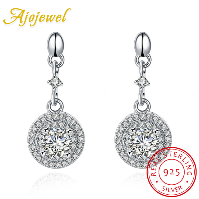 Ajojewel New Trendy Micro Pave CZ Round Earrings Women Silver 925 Jewelry With Crystal