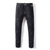 2019 Новый Для мужчин мужские джинсы отверстие Чистый черный стрейч черные ковбойские брюки ноги обтягивающие мужские джинсы хип хоп одежда