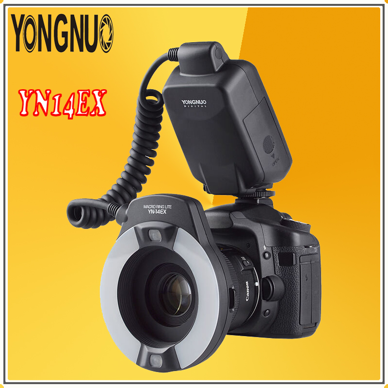 YONGNUO YN14EX TTL Radio Sync Automatic Macro Ring Lite Flash Speedlite For Canon 5d mark ii iii 7D 6d 60d 700d 650d 600d 550d yongnuo yn 14ex ttl macro ring flash light with 4 adapters yn14ex speelite for canon 5d mark ii 5d mark iii 6d 7d 60d 70d 700d