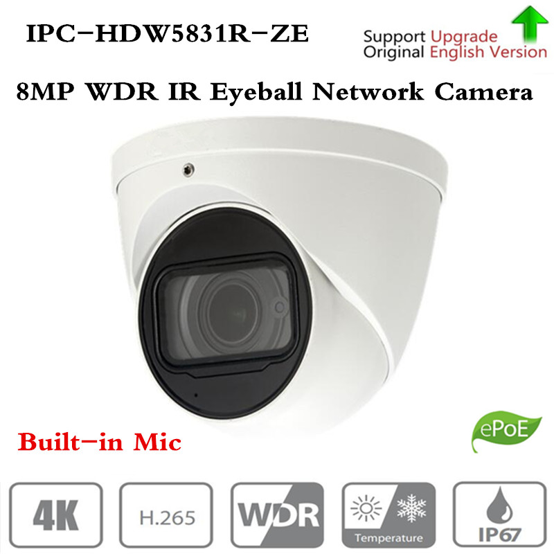 Originale ahua di Marca Telecamera ip di Sicurezza CCTV 8MP WDR IR Bulbo Oculare Telecamera di Rete con POE IP67 IK10 Senza Logo IPC-HDW5831R-ZE
