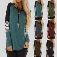 Oansatz Patchwork Gestreiften T hemd Herbst Frauen Casual Langarm Shirts Weibliche Tunika Tops