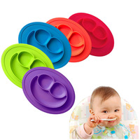New Smiling Face Shape Baby Feeding Food Plate Silicone One Piece Infants Tray Dish Box