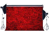 Valentine's Day Backdrop Photography Backdrops Blooming Fresh Floral Red Rose Flowers Wedding Background