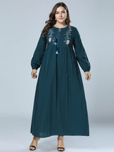 Large Size Womens Dress, Tall Long Of Europe And America, Simple Embroidered National Style Dress