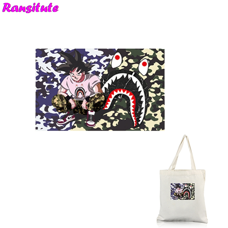 Ransitute R344 Dragon Ball 1 Printing Thermal Transfer T-shirt Denim Clothing Applique Backpack Patch Washable Heat Transfer