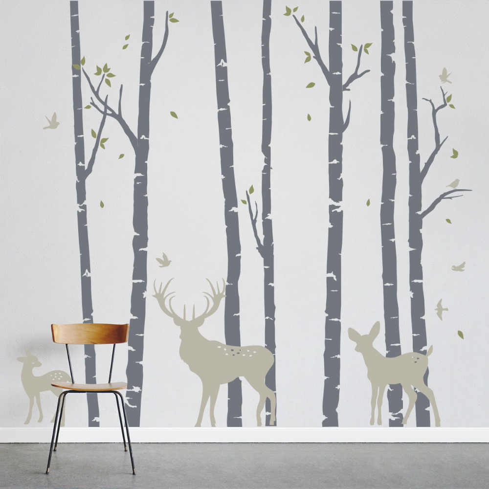 7 Trees Forest Bieds Deer Family Wall Sticker Home Decor Wall Art Mural Stickers Nursery Removable Vinyl Decorative Wallpaper