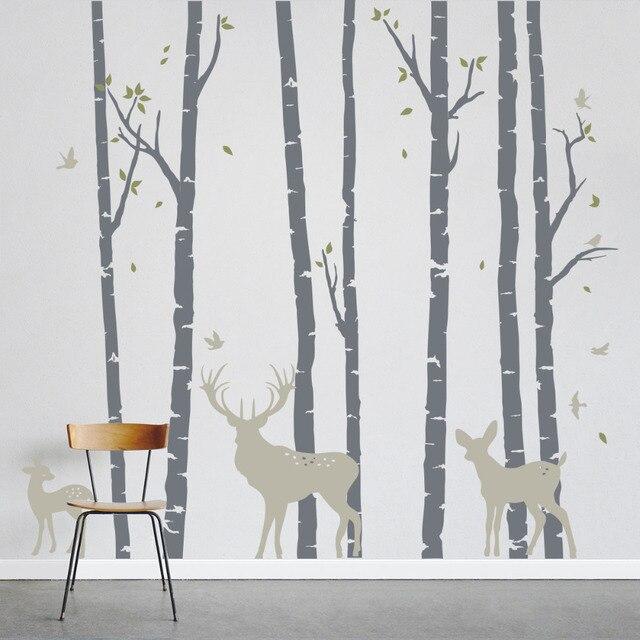 7 Trees Forest Bieds Deer Family Wall Sticker Home Decor Wall Art Mural Stickers Nursery Removable Vinyl Decorative Wallpaper