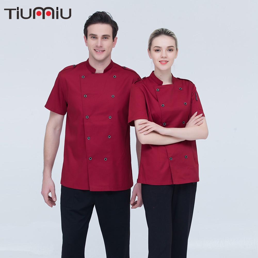 High Quality Chef Uniforms Women Men Short-sleeve Bakery Hotel Restaurant Chef Work Wear Uniform Summer Breathable Chef Jacket