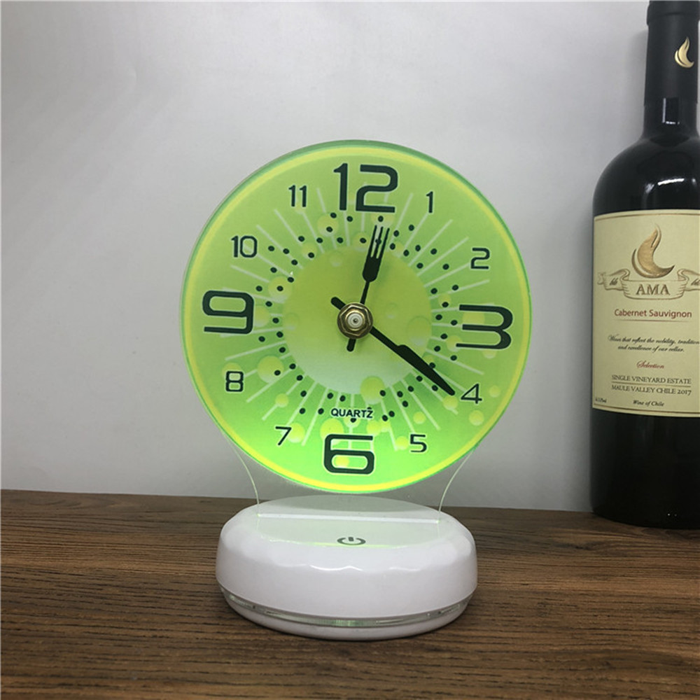 USB Rechargeable 3D Time Clock LED Night Light Touch Control Colorful Table Lamp Home Decoration with Remote