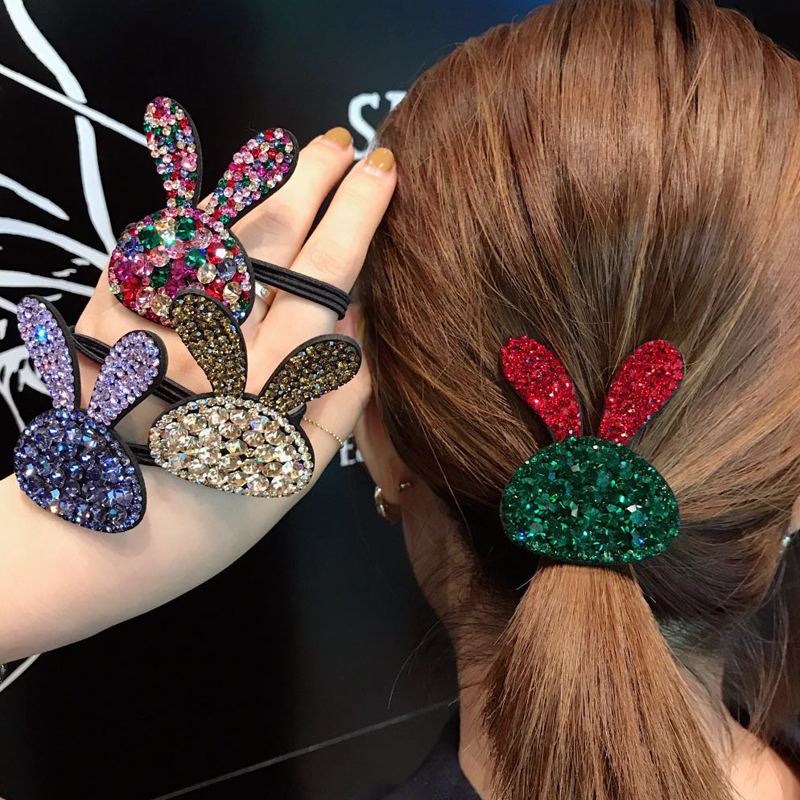1pc 8 Colors Rabbit Shape Women Elastic Bands Crystal Rhinestone Fashion Hair Rubber Bands Head Bands For Girls Drop-shipping By Scientific Process
