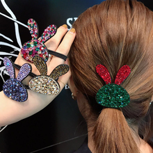 1pc Girls Fashion Rhinestone Rabbit Hairband Elastic Rubber Bands For Women, Women Animal Shape Hair Accessories