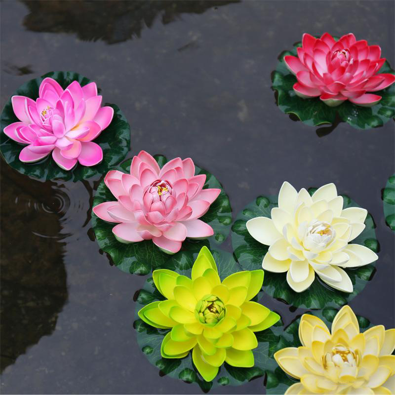 1 PCS 17 CM Decoration Garden Artificial False Foam Lotus Flowers Lotus Flower Water Lily Floating Pool Garden Plants Decoration