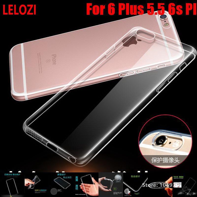 LELOZI Soft Transparent TPU Clear Silicone Gel Fundas Etui Case Cover For iPhone 6 Plus  ...