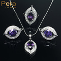Trendy Summer Style Purple Amethyst Crystal Stone 925 Sterling Silver CZ Jewelry Wedding Engagement 3 Piece Sets For Women J006