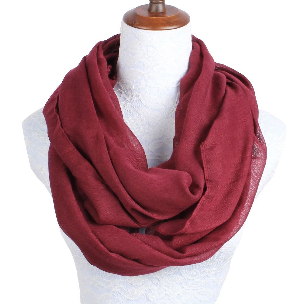 2018 New Fashion Women Infinity Scarf Design With Solid Voile Polyester Winter Warm Lady Ring Loop Scarf Size 180*70cm