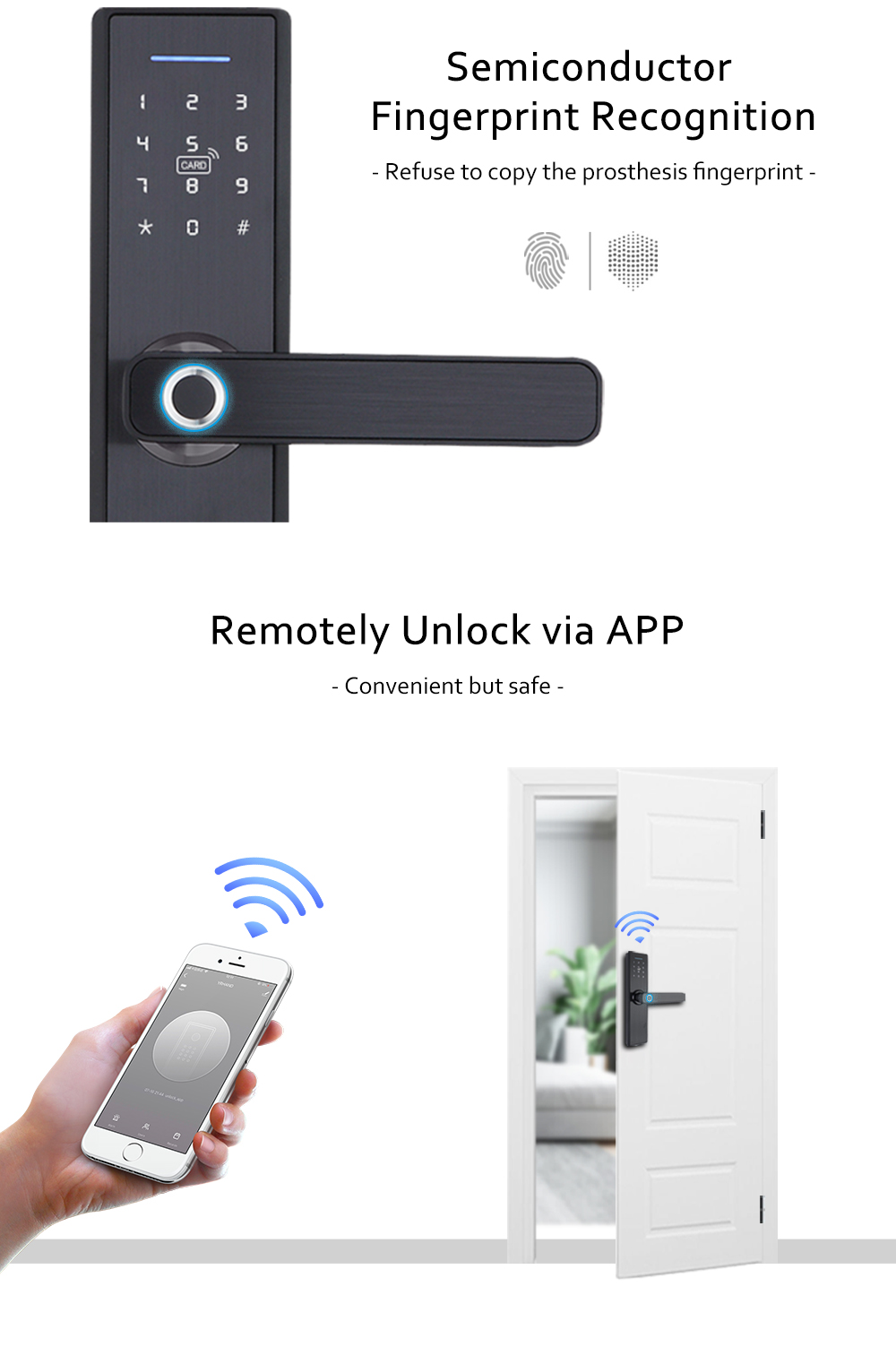 YRHAND Biometric Smart Fingerprint Lock Pad for Intelligent Security With WiFi and Password Protected 9