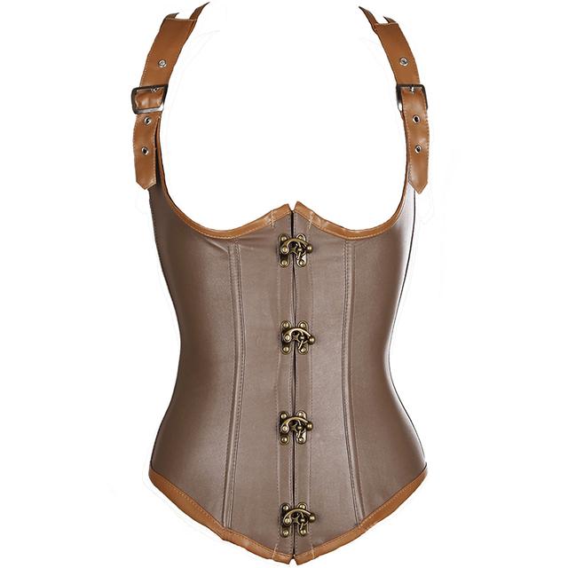 Brown steampunk gótico de Aço desossado Lace up Bustier Cintura cincher Corset Underbust corset Cincher tamanho Plu Tamanho S M L XL-6XL