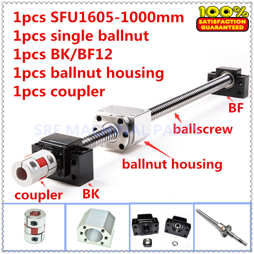 16mm RM1605 Rolled ballscrew set:1pcs SFU1605 L=1000mm+1pcs Ballnut +1pcs ballnut housing +1set BK/BF12+1pcs 6.35*10mm Coupling