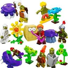 8pcs/lot Plants Vs Zombies Figures Garden Maze Gmae Block Scompatible Kids Building Brick Toys For Children
