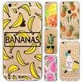 Frutas Piña Plátano caliente de Silicona Suave Cubierta de la Caja Transparente Para Apple iphone 7 6 6 s más 5 5S sí 7 más 6 más 6 splus Coque