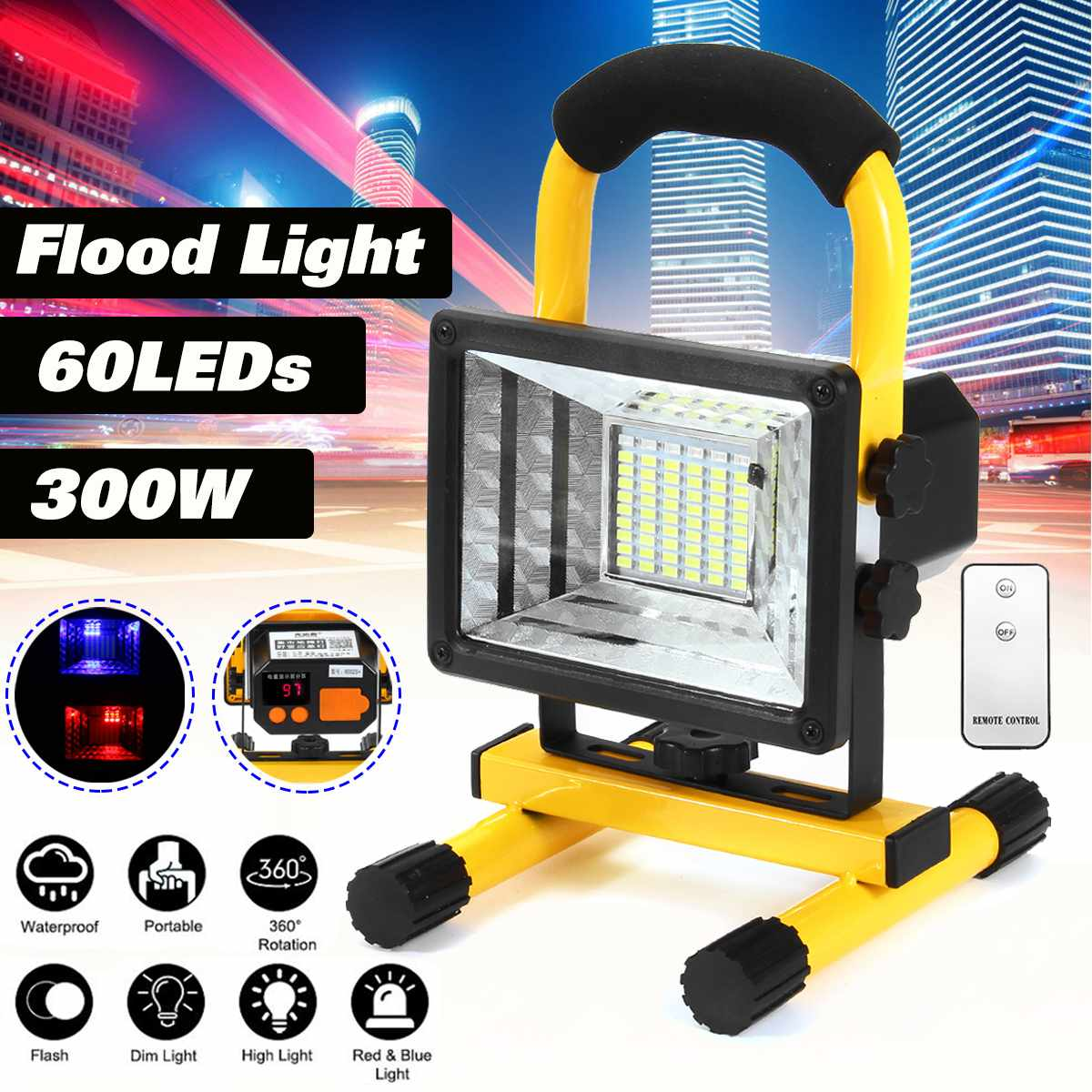 New 300W <font><b>60</b></font> <font><b>LED</b></font> Portable <font><b>Rechargeable</b></font> Floodlight Waterproof Outdoor Handheld Work <font><b>Lights</b></font> Power By 18650 Portable Lantern image