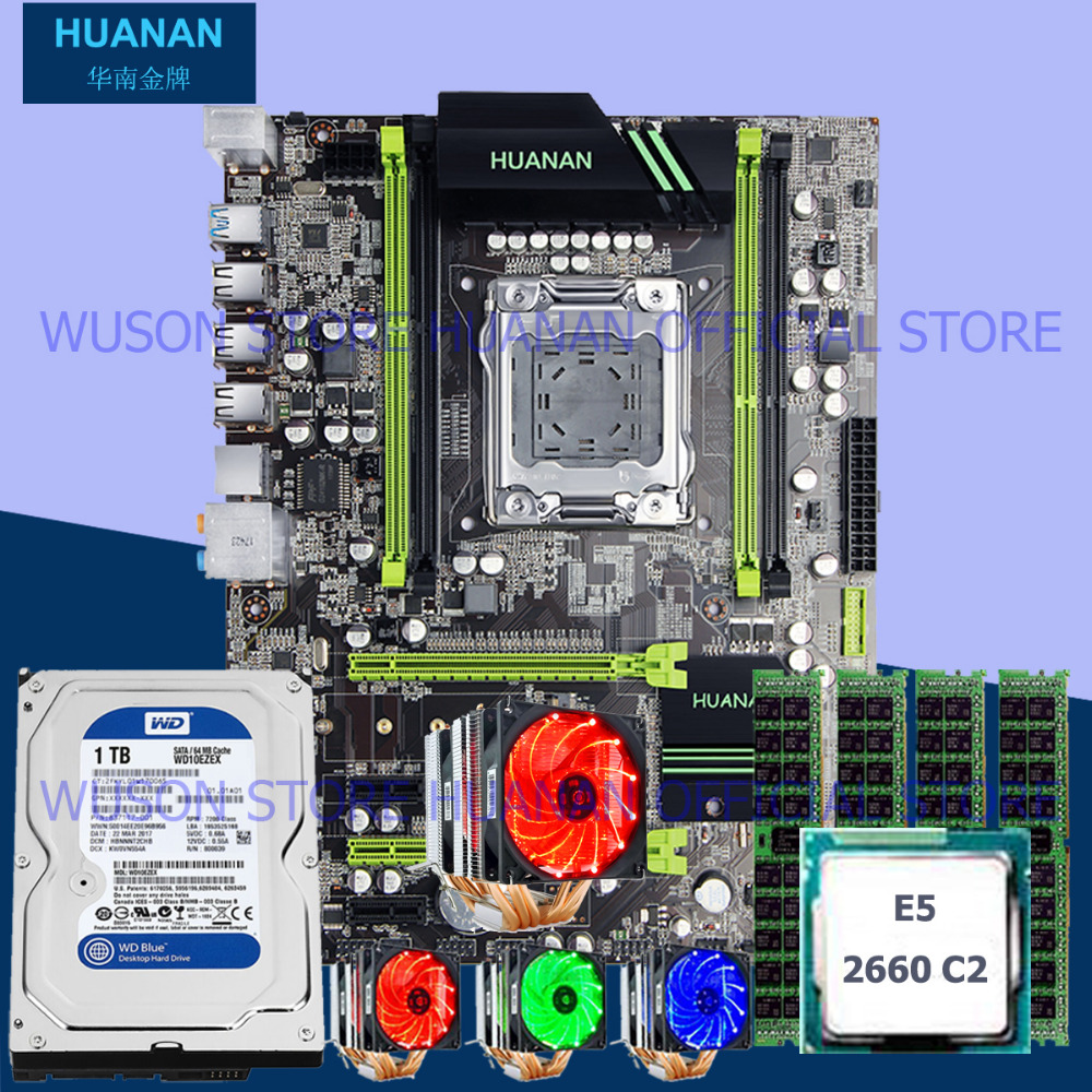 Official HUANAN X79 motherboard CPU Xeon E5 2660 SROKK with 6 heatpipes cooler RAM 16G DDR3 RECC 1TB 3.5' SATA HDD all tested термосумка thermos e5 24 can cooler 19л [555618] лайм