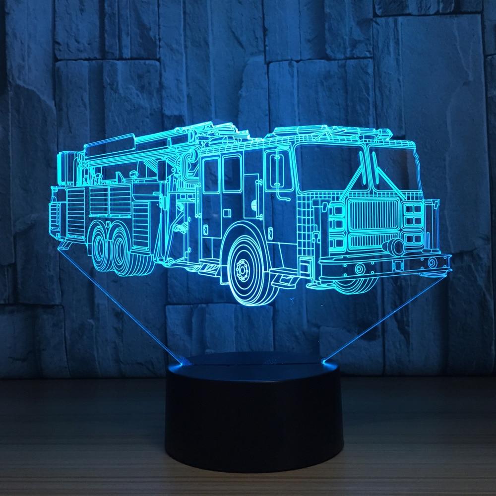 3D Fire Engine Modelling Table Lamp 7 Colors Changing Fire Truck Car Night Light USB Sleep Light Fixture Bedroom Decor Kids Gift