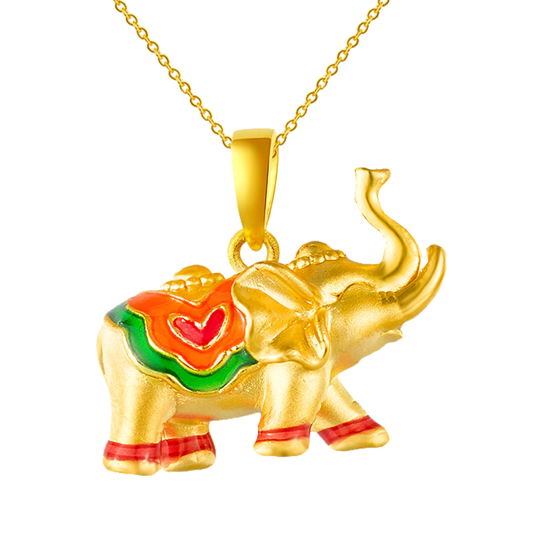 цена на 1pcs New Arrival 999 24K Yellow Gold Pendant 3D 999 Gold Elephant Pendant 1.24g