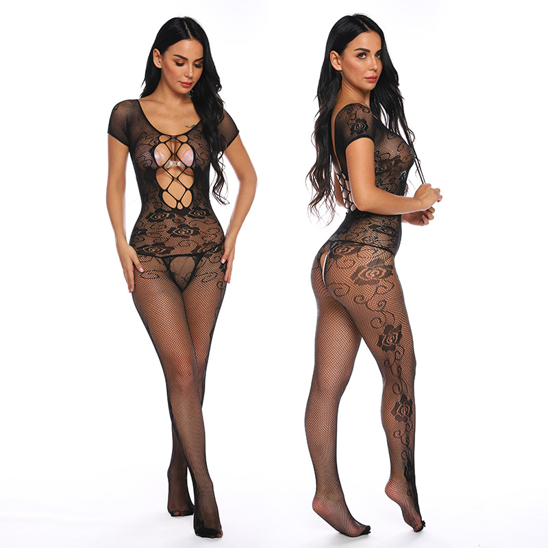 Open Crotch Fetish Bodystocking O Neck Sexy Erotic Lingerie Crotchless Body Suit Underwear Costumes Porno Babydoll Latex Catsuit