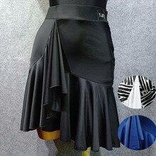 Необычная юбка для латинских танцев для женщин, черная/синяя юбка для танцев, Vestido De Flecos, Фламенго, Румба/Самба/ковбой, юбка для латинских танцев, VDB502