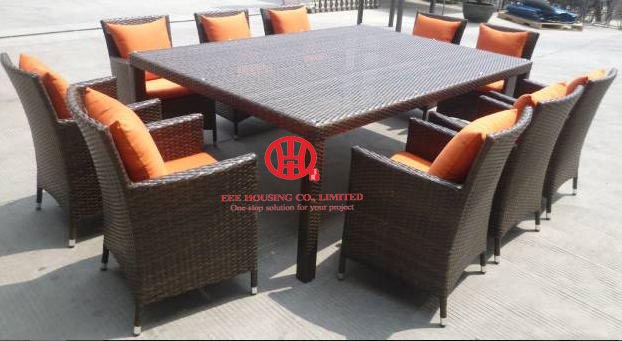 outdoor furniture garden resturant furniture dining set,Elegant garden Aluminum dining table and rattan chair,dining room set