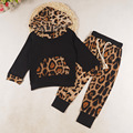 New 2016 long sleeves Baby girl Sets leopard print Clothing Set Girls Tracksuits Hooded Girl clothes suits vetement enfant J0250