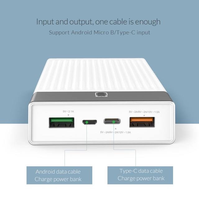 10000 / 20000 mAh Two-way Quick Charge 3.0 Power Bank