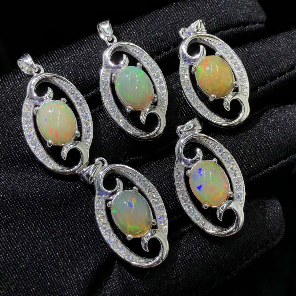 Spezielle Kristall Opal Jewely Anhänger 925 Sterling Silber Frau Charme Anhänger Bunte Opal Schmuck-in Anhänger aus Schmuck und Accessoires bei  Gruppe 1