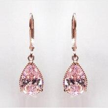 Pink CZ Water Drop Earrings Rose-gold Color Drop Earrings for Women Vintage Elegant Earring Female Fashion Jewelry недорого