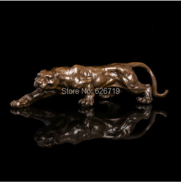 Hot CAST Bronzes Sculptures Creeping Cheetah Bronze Statue Panther Home Decoration metal arts in Statues Sculptures from Home Garden
